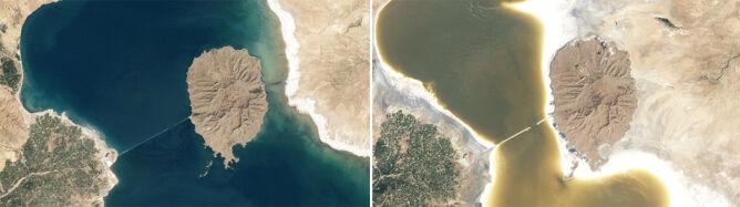 """""""Jezioro głodne soli"""" znika. Porównaj zdjęcia"""
