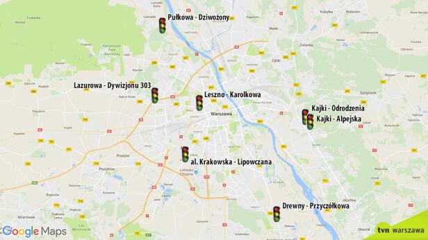 Miejsca, w których staną nowe sygnalizatory świetlne Google Maps