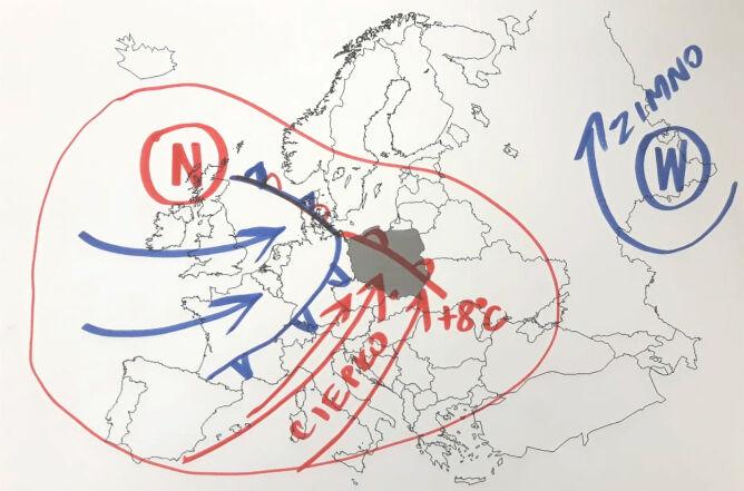 Pogodę w Europie kształtują wyż znad Rosji i niż znad Wysp Brytyjskich