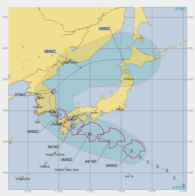 Prognozowana trasa przejścia burzy tropikalnej Francisco (https://www.metoc.navy.mil)