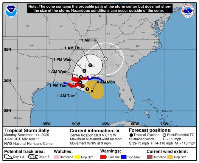 Trasa przebiegu burzy tropikalnej Sally (NHC, NOAA)