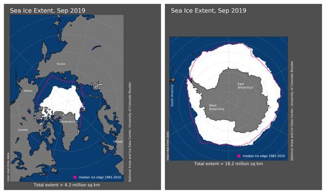 Zasięg pokrywy lodowej we wrześniu 2019 w porównaniu do okresu z lat 1981-2010 (noaa.gov)