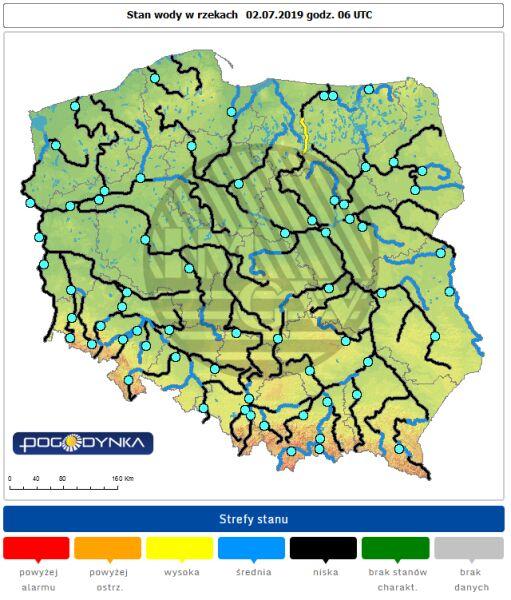 Stan wody w rzekach o godzinie 8 w wtorek (pogodynka.pl/polska/hydro)